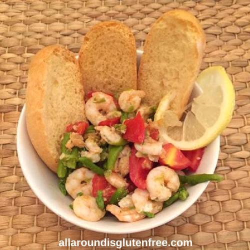 Shrimp, Asparagus, Cherry tomatoes.